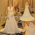 2012 Famous Designer Sexy Halter Open Back Summer Chiffon Crystal Wedding Dress Bridal Gowns TP-061