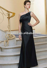 Black Silky Chiffon Gown with Ruffle One Shoulder and Beading Long Bridesmaid Dress