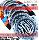 Zebra Animal Print Crystal Bezel Jelly Silicone Watch Stylish Fashion Luxury New free shipping