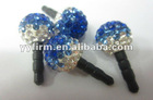10MM Crystal Rhinestone Clay Pave Disco Beads 3.5MM Thickness Earphone Ear Cap Dock Dust Plug !