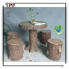 29 Inches Fiberglass Outdoor Imitation Wooden Round Table With 4 Stools