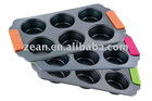 Non stick 6 cup mini muffin cupcake pan with removable silicone handles