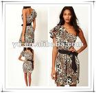 2013 One Shoulder Causal Dress in Animal Print,Ladies Causal Dress