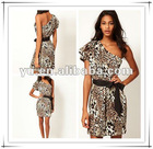 2013 One Shoulder Causal Dress in Animal Print,Ladies Causal Dress
