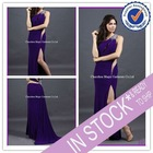 Long purple one shoulder jersey sexy evening dress 2012