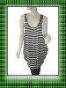 Ladies` knitted loose stripe long length tank top