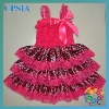 Hot selling New arrivals baby sweet red lace chiffon zebra satin dress for your princess