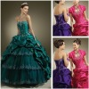 Green Oganza Free Jacket Tiered Ruched Prom Evening Dress