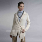 lady spring fine gauge knitted cardigan crew neck long seelve women's pure cashmere sweater with hand tuck ribbon placket