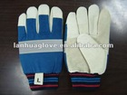 Cow or pig grain leather mining used glove with reflective tape
