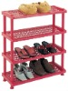 PL-154S 4 TIERS RED PLASTIC SHOE RACK