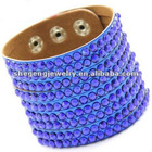 Delicate Deep Blue Rhinestone Leather Bangle Bracelet