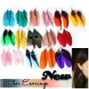 BRiGHT FeaTHeR eaRRiNGS BoHo pirced OR clip-on
