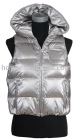 TIFFI Lady's Waistcoat padded with 80% white duck down in silver