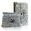 Leopard 360 Degree Rotating Stand Smart Cover PU Leather Case for iPad 3