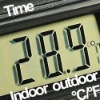 3 in 1 thermometer: indoor and outdoor temperature and clock on LCD digital display