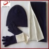 100%cashmere double-sided color knit scarf,glove and hat set with 2011fashion accessory