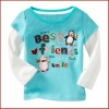 Single Knitted Cotton Girls Long Sleeve Applique T-shirt