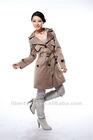 women bellow pockets trench coat long overcoat