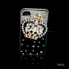newly phone protective cover for iphone 4 imperial crown with Drill diamond