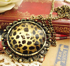 occident fashion leopard necklace Vintage hollow sweater necklace pendant
