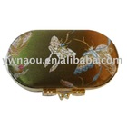 metal buckle brocade lipstick case with mirror for ladies