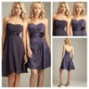 Delightful Dark Purple Satin Chiffon Handmade Flower Cheap Short 2012 Bridesmaid Dress