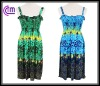 newest style smocked dress with plant printing