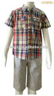 Boy Kid's Short Sleeve Plaid Shirt