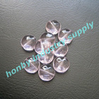 Flat shape pink color polished crystal flat beads