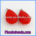 Wholesale Necklace Accessories Red Drop shape Crystal Pendant Beads CNP-Z01