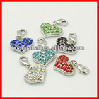 Alloy Rhinestone Heart Pendants(RB-C1386-P)