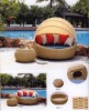 modern outdoor round sunbed rattan fueniture