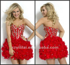 Free Shipping Strapless Sweetheart Mini Red Cocktail Dress with Crystals