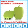 Mobile Power Bank 3200mAh Portable Charger for iPhone4s 5/iPad2/Galaxy Dual USB Output