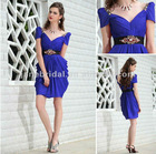 Royal blue chiffon black belt cocktail dresses knee length