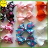 Printing ribbon bow barettes for girls / kids hair accessories (FB013411)