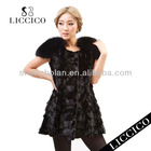 2013 Ladies' real fur waistcoat outwear with Fox Fur Shoulder Genuine Mink Vest #HD-97-2