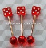mini red colorr dice tongue rings with stons body piercing jewelry
