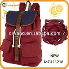 2013 hot selling red and navy ladies canvas rucksack