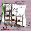2012 hot selling 4 tiers bamboo coner rack with chromed legs