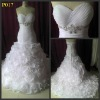 White organza sweetheart beaded ruffle skrit real sample wedding dress