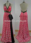 Dipped neckline halter backless long evening dress