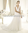 PW0005 Sexy deep V neck and sheer lace open back short sleeve patterns designer bridal dresses 2012