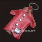 Cute design leather key leather key ring holder with clock