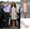 2012 Europe Celebrity princess Kate Middleton Fashion white chiffon Ladies' Sleeveless Vintage career Slim Dresses kt013