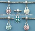 Mixed Heart Dangle Beads Fit European Charm Bracelet 26x10mm