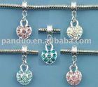 Mixed Heart Dangle Beads Fit European Charm Bracelet 26x10mm