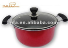 Nonstick soup pot in red.