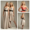 Terrific Champagne Satin One-shoulder Black Belt A-line Bridesmaid Dress 2013